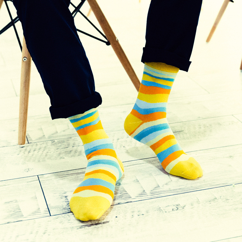 Men cotton socks casual stripe wavy lines socks Couple women deodorant funny socks fashion colorful Wild Camouflage socks