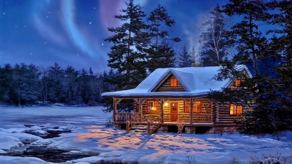 4 led lights free shipping Christmas Wall Art Canvas Print strechedforest house painting winter