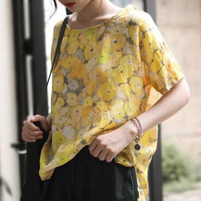 BUYKUD grande taille Blouse été coton lin à manches courtes tunique femmes lâche O cou hauts et chemisiers dames 2019 chemises d'impression