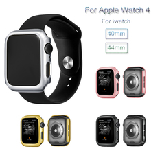 Plating PC Watch Case For Apple Watch 4 Protective Cover Frame For iwatch 40mm 44mm Bumper Fall Resistance Shell Accessories s what protective detachable pc silicone bumper frame for iphone 4 4s white green