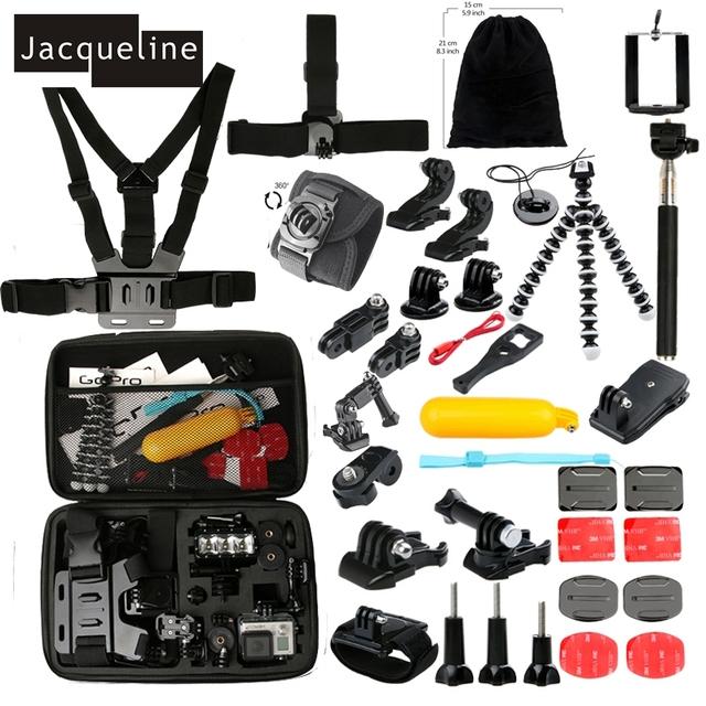 Jacqueline for Accessories set for gopro hero 6 5 4 3 kit mount monopod for SJCAM SJ6000 for yi action for Eken h9 h8r h9r
