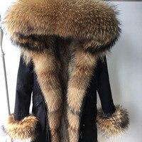 2019 Winter Real Natural Fur Coat Women Fox Fur Collar Coat Raccoon Fur Lining Women Black Parka Long Jacket Parkas Outerwear