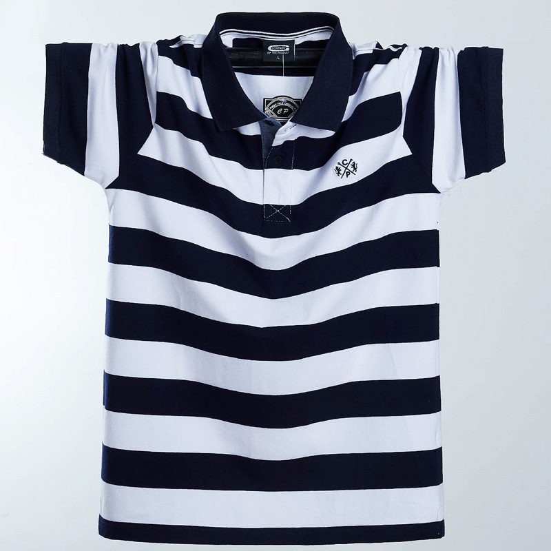 New Summer Brand Men Polo Shirt plus size 6xl 7xl 8xl Casual Cotton Striped Polo Men's Homme Camisa Short Sleeves Polo