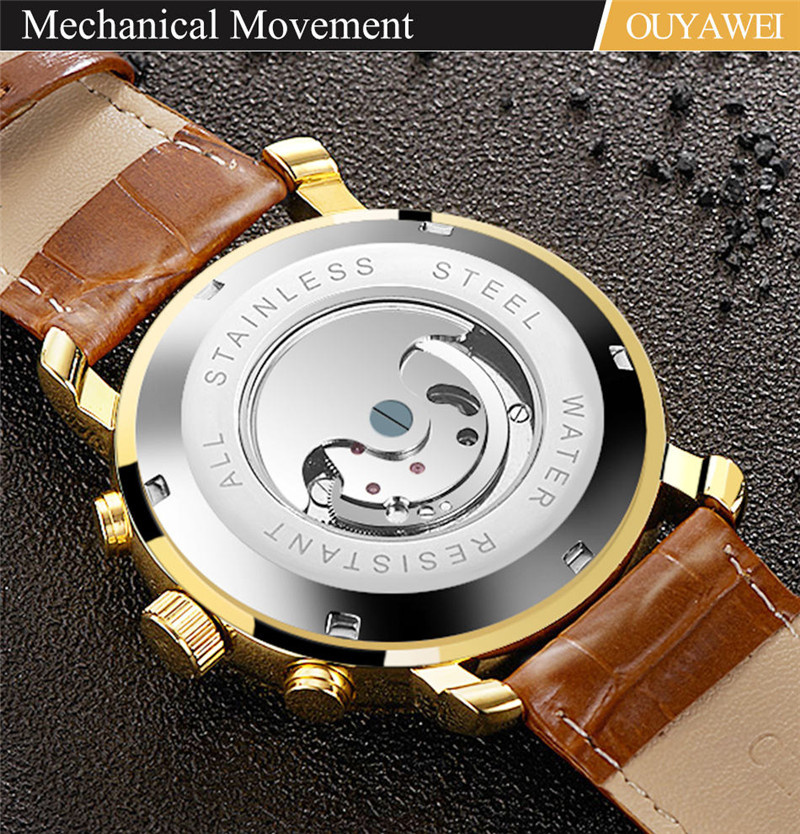 Mechanical Watch Mens Top Men\`s Automatic Mechanical Watches Wristwatch Leather watch relogio masculino (8)