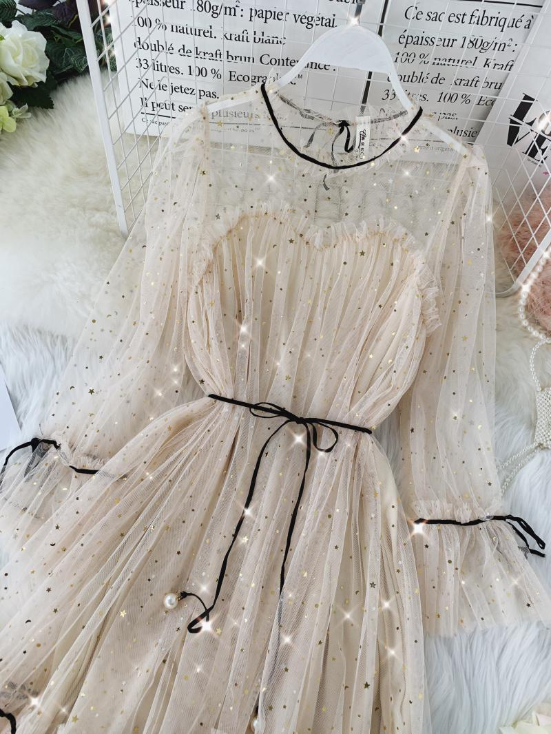 HISUMA spring autumn new women Star sequins gauze flare sleeve lace-up Princess dress female elegant o-neck mesh puff dresses 18