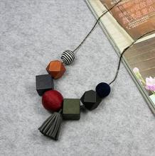 New Cute Tassel Wood Round Ball Pendant Long Women Sweater Necklace Snake Chain Fashion Jewelry Clothes Accessories