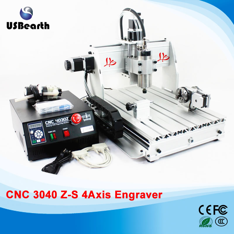 4 Axis CNC Router 3040Z-S Engraving Machine with tool bits and plain vice, free tax to Russia russia tax free cnc woodworking carving machine 4 axis cnc router 3040 z s with limit switch 1500w spindle for aluminum