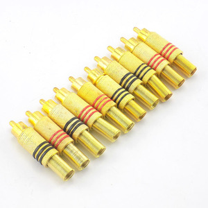 4pcs 10pcs Gold RCA Male Connector plug Connectors for Audio Cable Plug Adapter Video CCTV camera