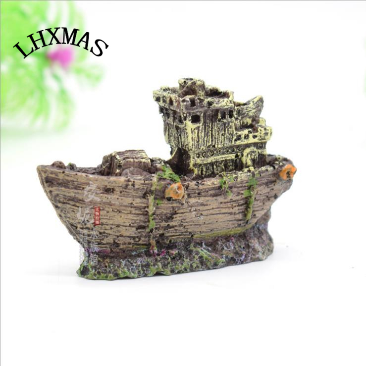 Mini Wreck Sunk Sailing Boat Fish Tank Aquarium Decoration Secret
