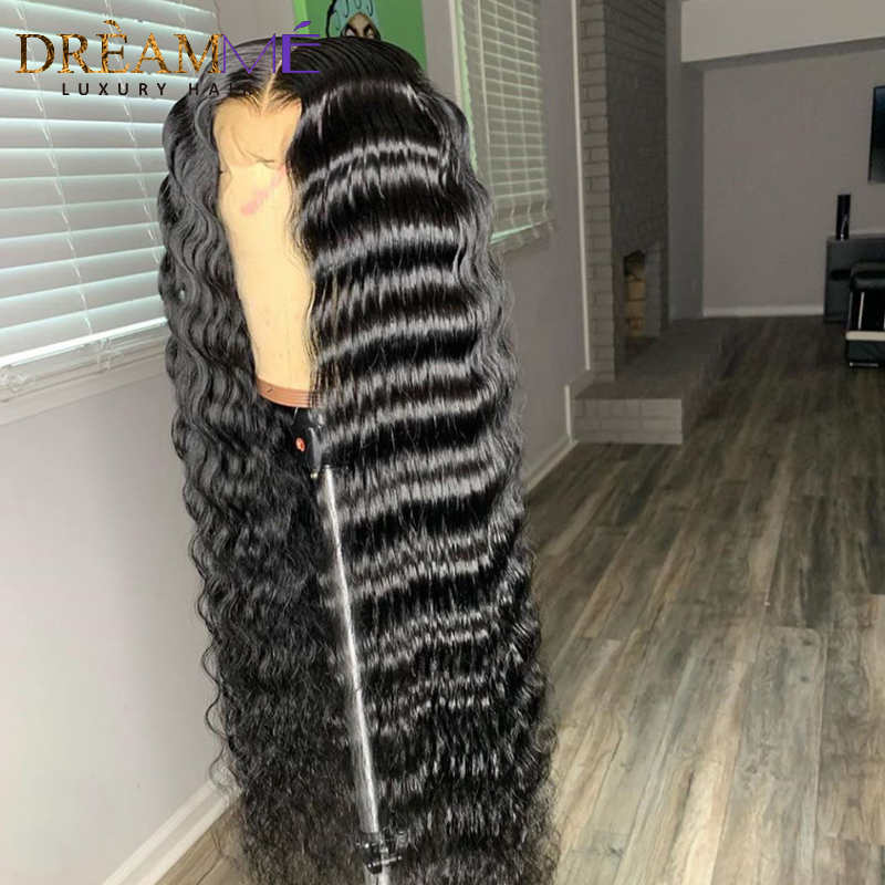 Image 2 - 13*6 Deep Part Lace Front Human Hair Wig For Black Women PrePlucked Brazilian Deep Wave Wig With Baby Hair Remy Wig Full End-in Human Hair Lace Wigs from Hair Extensions & Wigs