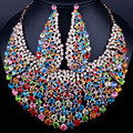 Wedding Jewelry Full Crystal Rhinestones Big Necklace and Earrings for Women, African bridal Jewelry Sets