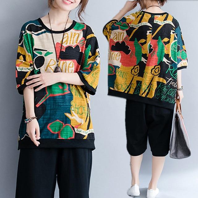 94fdbb527b5 Plus Size 4XL 2018 Summer Women Fashion Novelty Graffiti Letter Tops Tee Ladies  Female Large Cotton Short Sleeve Femme T shirt