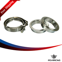 PQY RACING FREE SHIPPING 2 5 SUS 304 Steel Stainless Exhaust V Band Clamp Flange Kit
