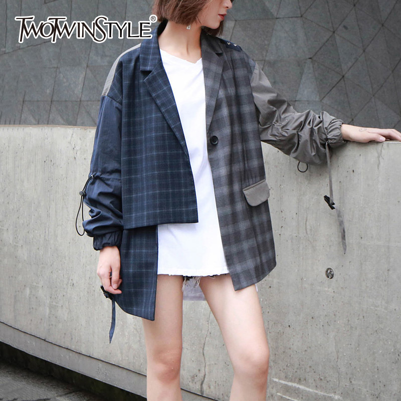 TWOTWINSTYLE Plaid Women's Blazer Irregular Patchwork Lantern Sleeve Lace Up Coat For Female Long Jacket Autumn Harajuku Clothes