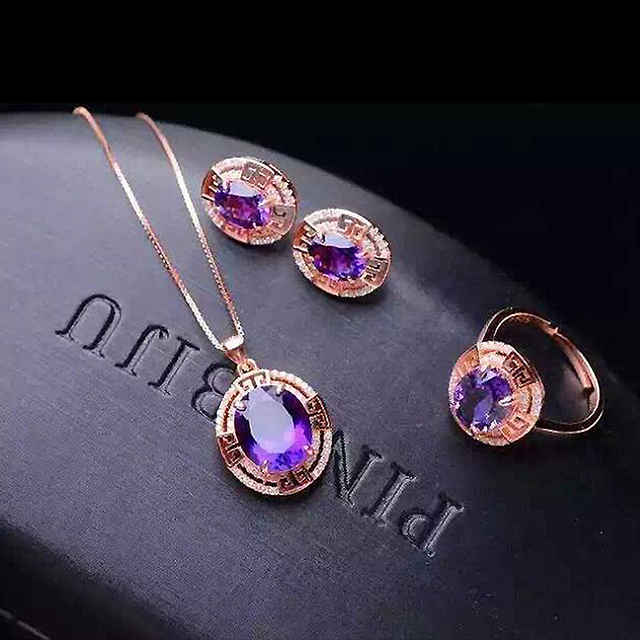 Natural Gemstone Jewelry Oval Amethyst Rose Gold Color Women 925 Silver Jewelry Set Wedding Necklace/Earrings/Ring Set YJS009