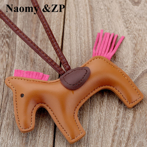 Naomy&ZP Famous Luxury Handmade PU Leather Horse Keychain Animal Key Chain Women Bag Charm Pendant Accessories Fashion Jewelry(China)