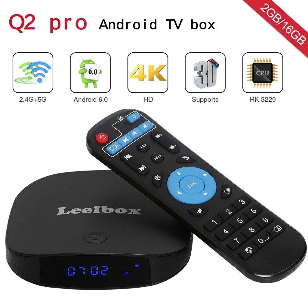 Leelbox Q2 Pro Android 7.1 TV Box 2GB RAM 16GB ROM BT 4.0 Quad Core 2.4GHz Set Top Box WiFi Media Player IPTV HD Android Box