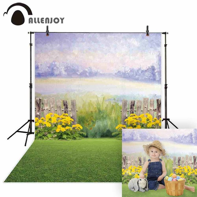 Allenjoy photography background watercolor spring flower fence garden kid backdrop photocall photo studio shoot prop fabric