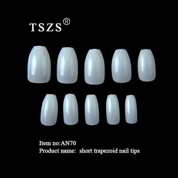 1bag/lot Professional Coffin Ballerina Shape Full Cover Short Clear Natural  Acrylic Nails False Tips