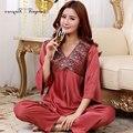 Tinyear señoras pijama de raso de seda night sleep wear experto s-xxl 2 colores opcionales