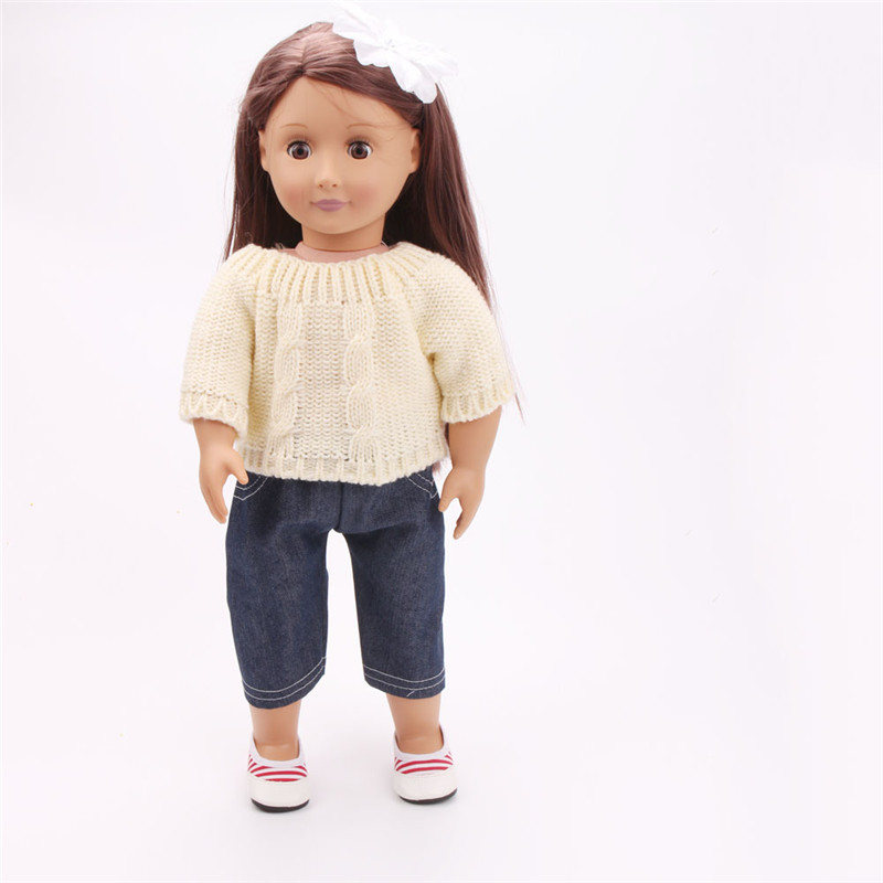 White Sweater set American girl doll clothes fits for 18 american alexander,girls dolls,free shpping AX11