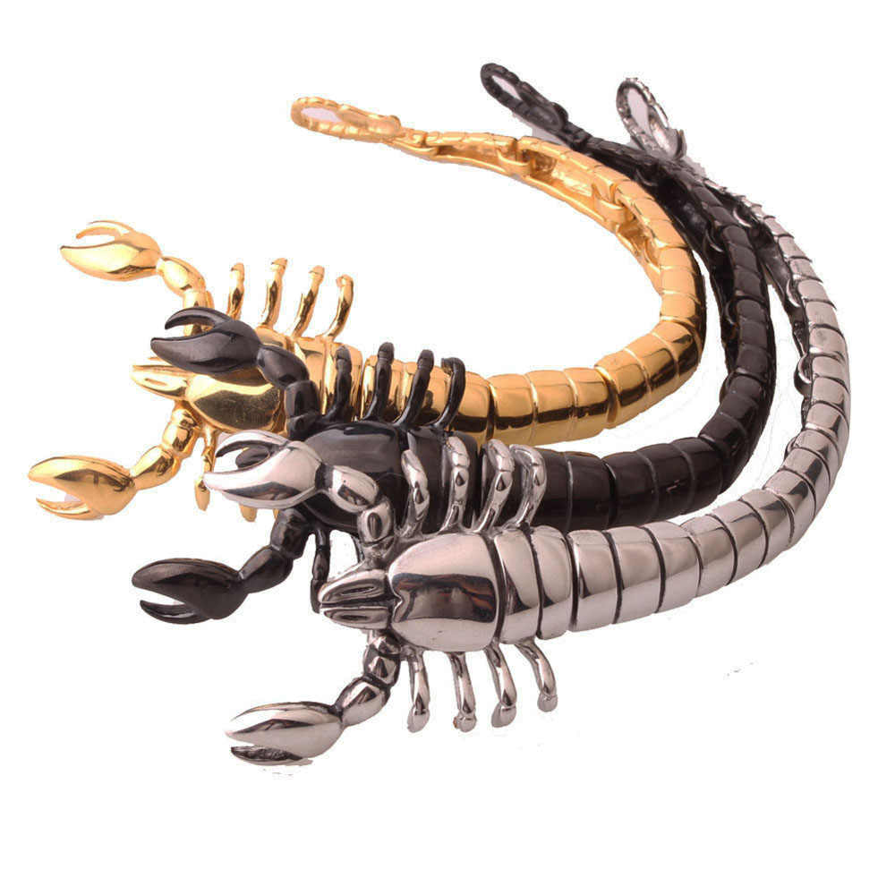 Qmzchentrendy Punk Gotico Scorpion Catena Del Braccialetto Del Braccialetto D'oro Nero Argento Placcato In Acciaio D'acciaio di Titanio Uomini Gioielli Animale