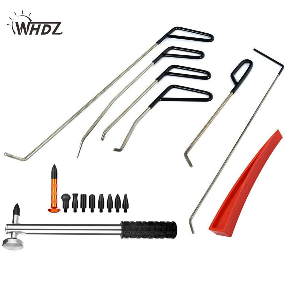 WHDZ Automotive Paintless Dent Repair Tools Kit Dent Remover PDR Hail Repair Tool Metal Tap Down PDR Rods Hail Damage Repair Kit auto pdr paintless hail rods kit flat end dent puller repair tools 5pcs rod f005wd