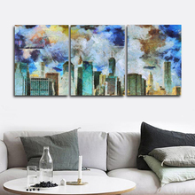 Laeacco 3 Panel Modern City Building Graffiti Wall Artwork Posters and Prints Canvas Painting Calligraphy Home Living Room Decor