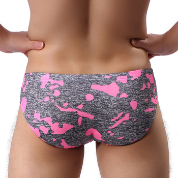 Cool Summer Men's Sexy Bikini Briefs Calzoncillos Cueca Seamless Gay Underwear Camouflage U Convex Pouch Men Lingerie Briefs colorful leaves print edging design u convex pouch briefs