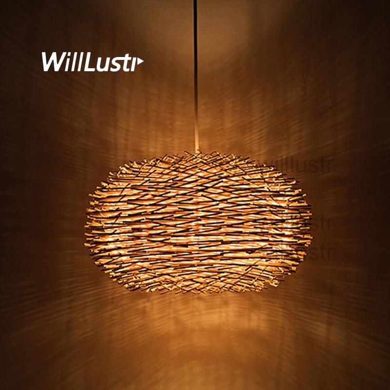 Bird Nest Pendant Lamp Light Nordic Rattan Wicker Wood Handmade Hotel Restaurant Cafe Living Dinning Room Suspension Lighting
