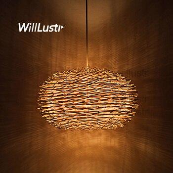 цена Bird Nest Pendant Lamp Light Nordic Rattan Wicker Wood Handmade Hotel Restaurant Cafe Living Dinning Room Suspension Lighting онлайн в 2017 году