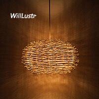 Willlustr Wicker Pendant Lamp Handmade Suspension Light Bird Nest Shape Hanging Lighting Bar Hotel Restaurant Mall