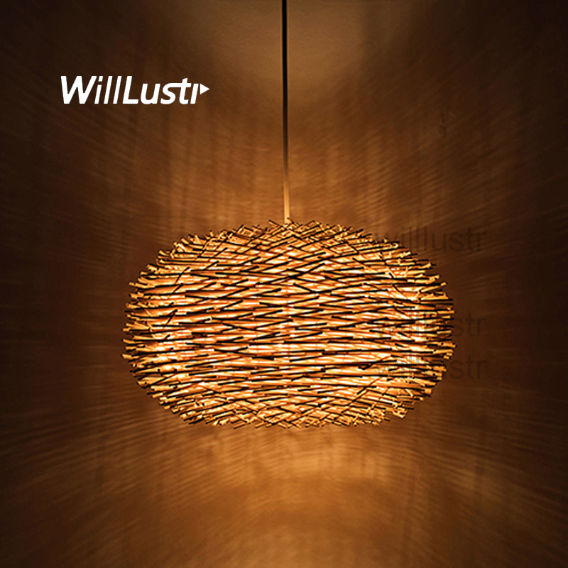 willlustr Rattan Pendant Lamp Bird Nest Wicker Hang Suspension Light Bar Hotel Restaurant Mall Nordic Handmade Wood Chandelier