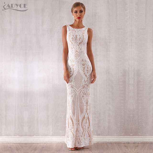 Adyce 2019 New Arrival Luxury Sequined Maxi Celebrity Evening Runway Party Dress Vestidos Sexy Sleeveless White Tank Club Dress 3