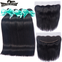DANCING BEAUTY 3 Bundles With 13 4 Lace Frontal Closure Malaysian Straight Hair Natural Color 100g