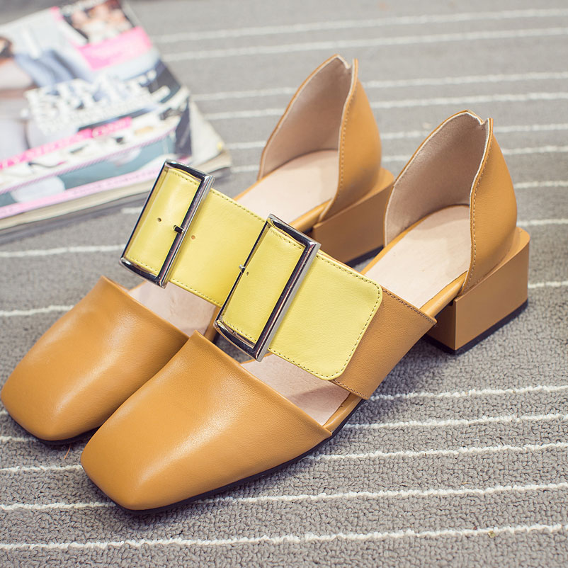 ФОТО Plus Size 40 Women Luxury 2017 Newest Shoes Woman Fashion Show Footwear Square Toe Buckles Designer Shoes brand Women Luxury