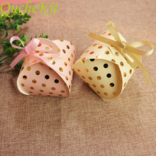 50pcs Gold Dots Cute Candy Box Wedding Favors Gift Bag Creative Bread Shape Packaging Boxes Event Party Supplies