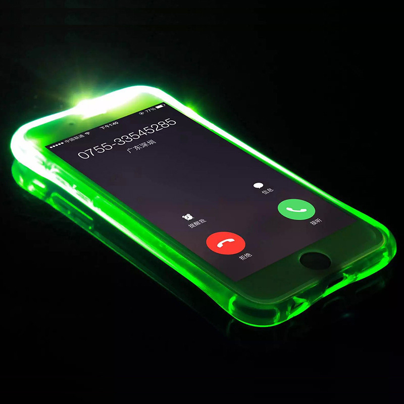 Ultrathin LED Light Flash Soft TPU Case For iPhone 7 7Plus Coque 6 6S Plus 5 5s Smart Calling Glitter Luminous Back Cover