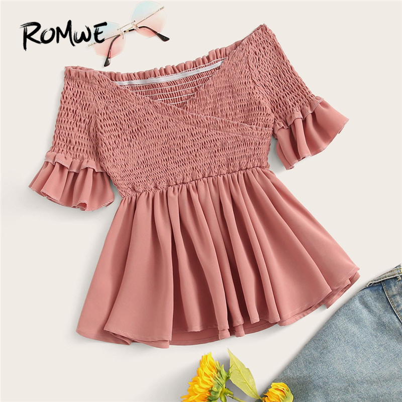 ROMWE Pink Crossover Shirred Off The Shoulder Ruffle Half Sleeve Flared Hem Women Blouse Summer Beach Style Cute Peplum Blouses