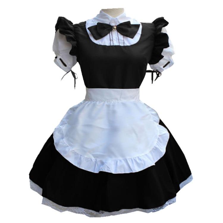 Женская мода с коротким рукавом кукольный воротник ретро платье горничной Милая Французская горничная наряд Лолита osplay костюм размера плю...