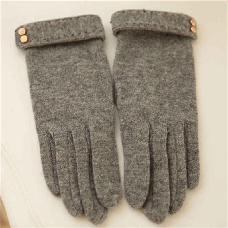 2019 秋冬の女性のニットウール手袋タッチスクリーンヒョウ固体色は暖かい 5 本の指エレガントな女性の手袋 T166
