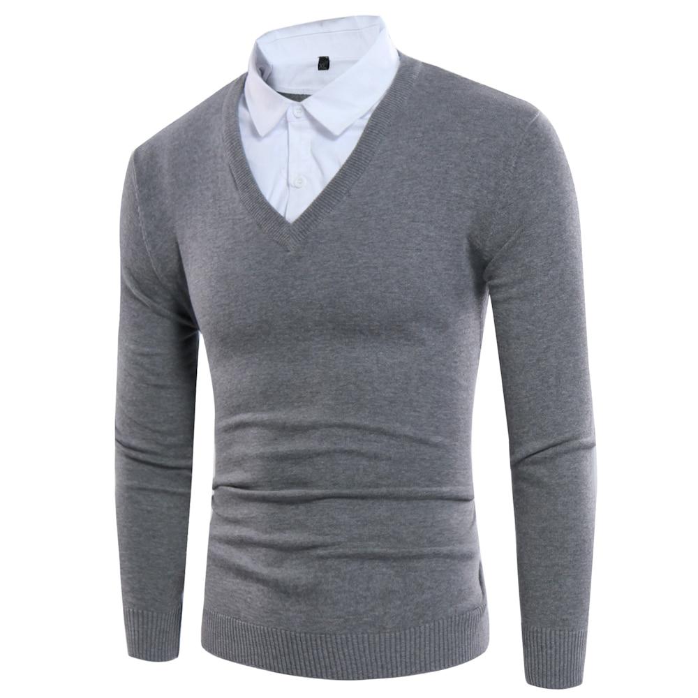 Gefälschte Zwei Stücke Männer Pullover 2017 Stil Shirts Kragen - Herrenbekleidung - Foto 3