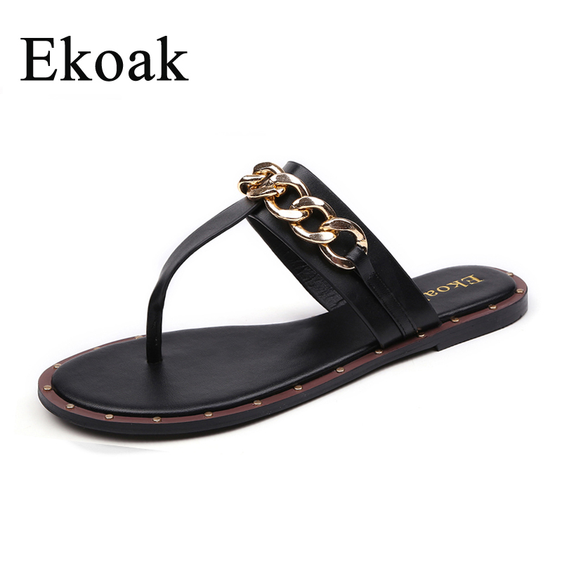 5846ee8e9b7a06 Ekoak New Fashion Leather Sandals Women Summer Ladies Dress shoes woman  Metal Chain Beach Flip-