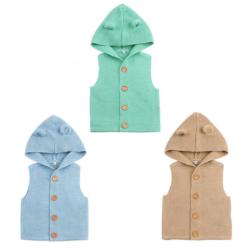 Baby Boys Girls Knitting Vest Kids Sweaters Cute Ears Hooded Vest Warm Hooded Coat Children Cotton Vest Clothes Clothing