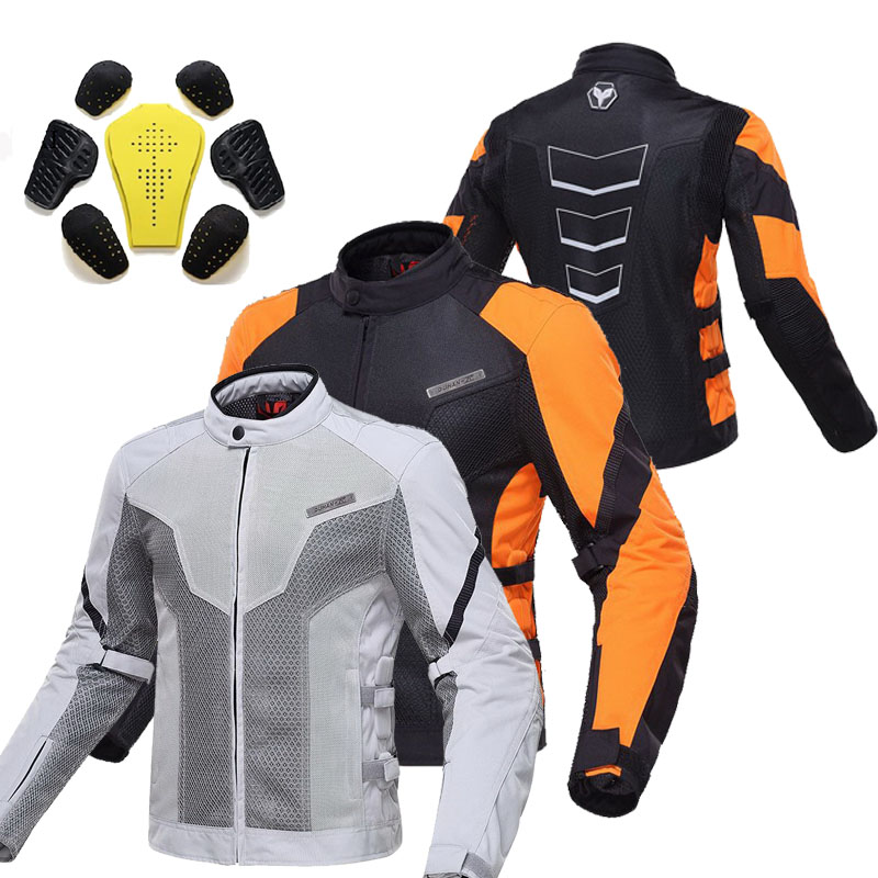 Summer DUHAN Moto motorcycle riding reflective safety jacket motorbike Cycling men chaqueta moto dress orange Gray M L XL XXL