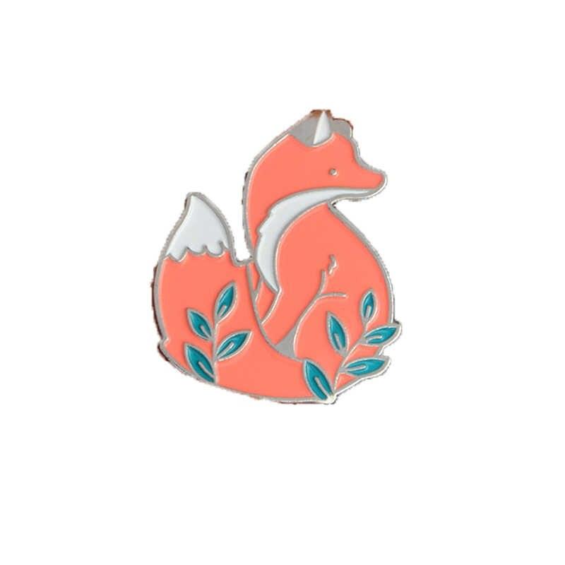 Gran oferta broches esmaltados ataúd mano Toro cabeza zorro libro volador Concha cuadrada narwal delfín pincel forma regalo de broche de joyería