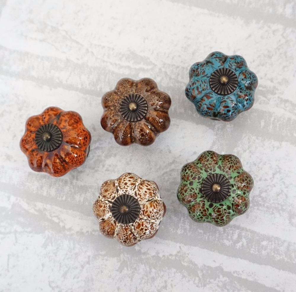Vintage Pumpkin Ceramic Knobs Dresser Knob Drawer / Ceramic Cabinet Handle / Colorful Kitchen Door Knob Furniture Hardware 10pcs kitchen furniture pull pumpkin shape pastoralism ceramic knob various color single hole knobdrawer knob dia 40mm
