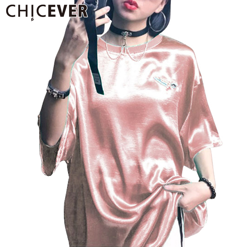 CHICEVER 2017 Summer Embroidery Satin Female T-Shirts For Women Tops Short Sleeve Clothes Big Size T shirt Top Korean Casual