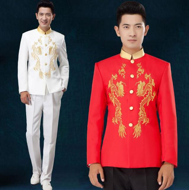 chinese style national clothing for men suit set pants embroidery mens  wedding suits stand collar groom formal dress white red daf483487