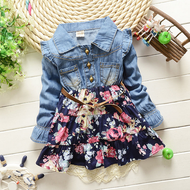 Cute Girls cowboy dress cotton Denim Jeans Flower Patchwork Dark Blue dress autumn clothes kids girls dress цена